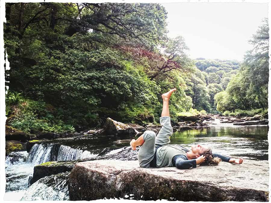 Still Flowing Yoga Teacher Training Gemma Mallol practice by the river